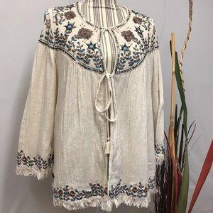 Zara tragaluces Embroidered /sequins cardigan Sm
